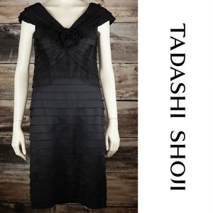 Tadashi Shoji Black Pleated Dress Flower 8
